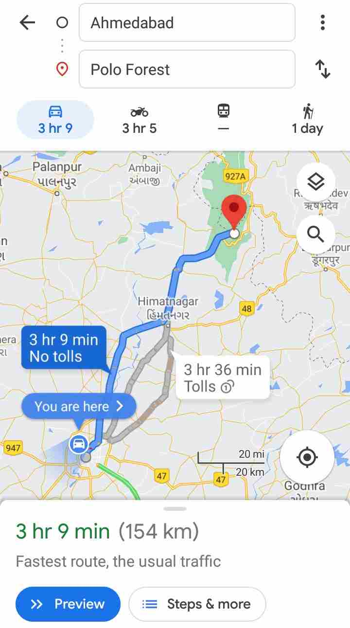 Ahmedabad to Polo Forest Route: Best & Fastest Route For Ahmedabad to Polo Forest